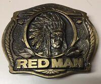 Vintage Red Man Chewing Tobacco Brass Belt Buckle 1988 PINKERTON TOBACCO ~ CHIEF