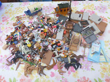 Enorme LOTTO ODL PLAYMOBIL Wild West Cowboy Indiani FORT carrello prigione Cannon OMBRE ROSSE