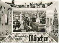Ansichtskarte München - Panoramablick mit Marienplatz - schwarz/weiß