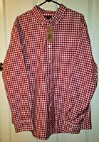 NWT Dockers Men's Long Sleeve Button Down Shirt Red/White/BLUE Plaid Size XL