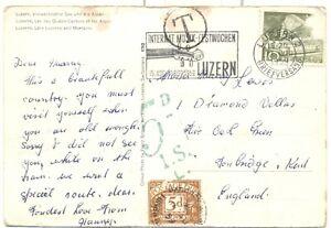 Kent Switzerland postage due 1959 Paddock Wood Tunbridge wells Violin slogan