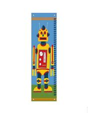 "Oopsie Daisy Canvas Growth Chart - Yellow Robot 12x42"" Grommets Covers Included"