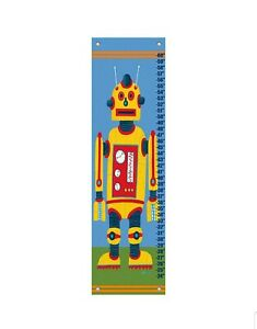 """Oopsie Daisy Canvas Growth Chart - Yellow Robot 12x42"""" Grommets Covers Included"""