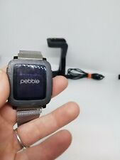 Pebble Time  Smartwatch for Apple/Android Devices Grey W Milenese Band Bundle