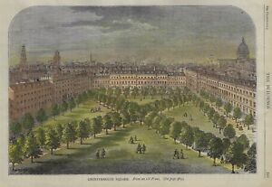 CHARTERHOUSE SQUARE - Hand-Colored Engraving - from The Buildings - c1790