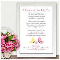 Personalised Bridesmaid Thank You Gifts Flower Girl Maid of Honour Wedding Poem