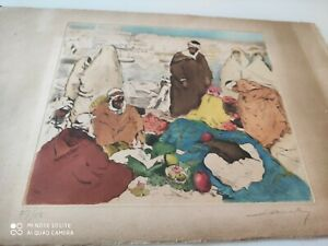 Peintre orientaliste Léon Cauvy 1874-1933.gravure en couleurs signée.