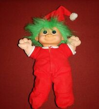 Troll Doll Stuffed Plush Christmas Elf Doll Trap Door Red Pj's Green Hair~RUSS