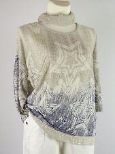Shirt Tunika Gr.42- 46 Designer Lagenlook Tuch Stern Pailetten sand beige blau D