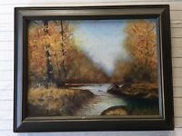 "A. Wickarsharn Original Oil Painting Landscape, Signed, Framed, 11 3/4"" x 8 3/4"""
