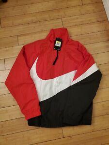Nike Big Swoosh Windbreaker Woven Full Zip Jacket Mens Sz S Black Red AR3132-657