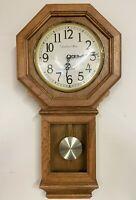 "Vintage 26"" STRAUSBOURG MANOR Quartz Westminster Chime Regulator Wall Clock"