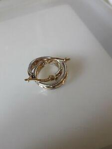 14ct Yellow & White Gold Twist Hoop Earrings - 2.16grams - 16x 4 mm