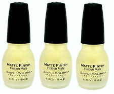 3 Sinful Colors Professional Nail Polish Matte Finish Clear Top Coat 1177