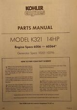 Kohler K321 Gasoline 14 h.p. Engine Motor Master Parts (2 Manuals) 64pg Tractor
