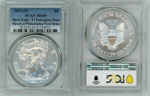 2021 P SILVER EAGLE $1 EMERGENCY TYPE 1 PCGS MS69 FIRST STRIKE BLUE LABEL V35