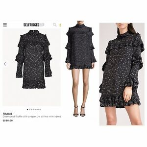Frame Denim Short Silk Dress With Star Print And Ruffles Sz S