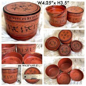 "4.25x3.5"" Asian Antique Burmese betel nut box, Kun it, Burma lacquerware"