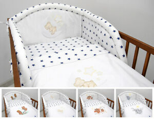 2 Pcs Kids Embroidered Quilt Cover Pillow Case Cot Bedding Set 100% Cotton