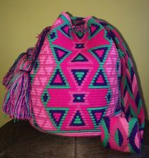 Authentic 100% Wayuu Mochila Colombian Bag Large Size Gorgeous Pinkish Colors