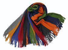 NEU!! XXL Strickschal aus 100% Merinowolle mit Fransen blau grün orange rot grau