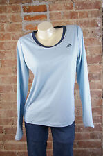 Adidas Women Active Wear Shirt Top Sz M Blue Long Sleeve ATS Dry Tiny Stains