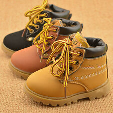 Winter Warm Kids Boys Girls Toddler  Leather Snow Boots Lined Shoes