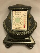 vintage chalkware weather watcher thermometer pot belly stove miller studio 1965