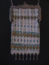 Antique Mandalian Metal Mesh Frame Handbag Turquoise Gold Diamonds Teardrop Bead