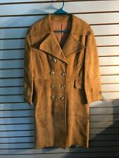 Vintage Women's Brown Leather Lined Button Suede Coat