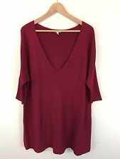 Eileen Fisher Women's V-Neck Tunic Sweater Size L Organic Cotton Red Batwing