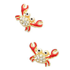 Red Crab Fashionable Earrings - Enamel - Stud - Sparkling Crystal - 2 Colors