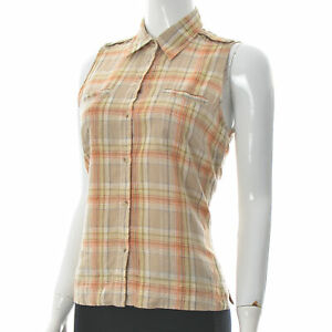 Columbia Women's Button Up Sleeveless Vest Shirt Top Multicolored Plaid Size XS