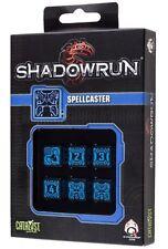 Shadowrun: Spellcaster Black/Blue (6) Würfelset /Diceset