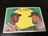 1959 Topps Hank Aaron & Eddie Mathews FENCE BUSTERS #212 NM / Mt