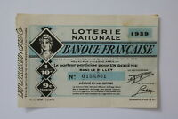 FRANCE LOTERY TICKET 1939 B20 BK156
