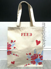CLARINS FEED 10 BEIGE RED FLORAL FLOWER SHOPPER BAG TOTE 100% ORGANIC COTTON