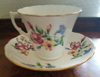 Colclough Bone China Cup And Saucer Set White With Pink, Yelliw, Blue Flowers