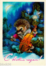 Hedgehog candle ebay 1977 soviet russian new year card hedgehog plays cello at xmas tree with candles m4hsunfo
