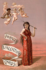 Vintage Valentine Card, Prangs, Antique Cupid, Museum Poster, Canvas Print