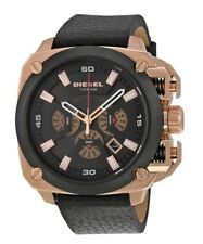 Men's Diesel Bamf Chronograph Leather Strap Watch DZ7346