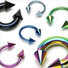 "1 PIECE 2g 1/2"" Horseshoe Spike Titanium  Rainbow Ear 9X9MM Spike PA Ext"