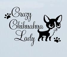 Crazy Chihuahua Lady Vinyl Decal sticker puppy paw prints car bumper window