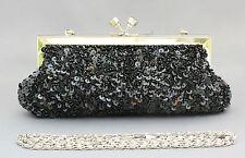 Nuevo con cuentas lentejuelas Noche handbag/purse/clutch Color: Negro # 4