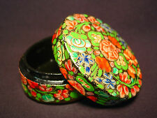 Handmade Oval Indian Trinket Jewelry Gift Box Vtg Round Paper Mache Flower India