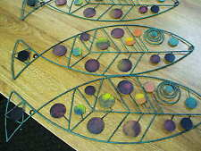 3 wire fish sculptures painted modern eames steel hanging wall mount set