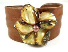 "1.8"" Gold Flower Mother of Pearl Leather Cuff Bracelet 6""-8"" adjustable; BA112"