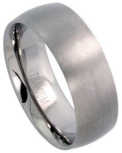 Titanium 8mm Comfort Fit Plain Dome Wedding Band Thumb Ring
