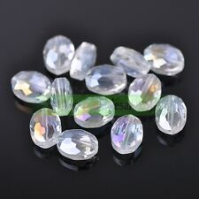 10pcs 12/16/20mm Faceted Oblong Cut Glass Crystal Loose Spacer Oval Beads Crafts