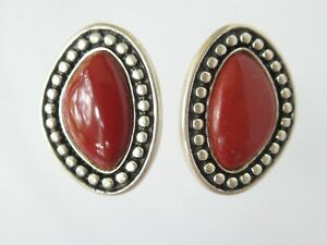 Carolyn Pollack Relios Sterling Silver Red Jasper Ear Post Earrings